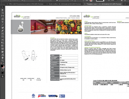 Indesign: redesign complex LED light document.